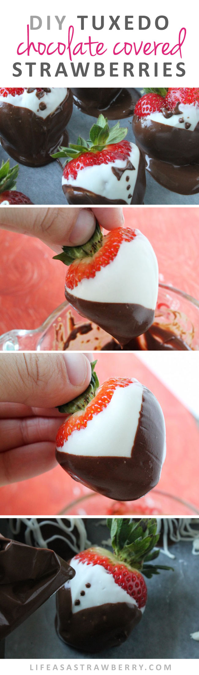 Tuxedo Chocolate Covered Strawberries | Make your own gourmet chocolate strawberries at home with this easy recipe and photo tutorial!
