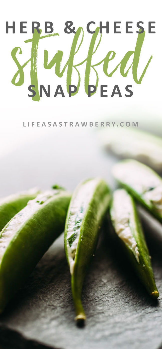 Herb and Cheese Stuffed Snap Peas - This easy but elegant spring appetizer is perfect for outdoor entertaining! Fresh, crisp pea pods are stuffed with a simple herb and cheese mixture. Vegetarian.