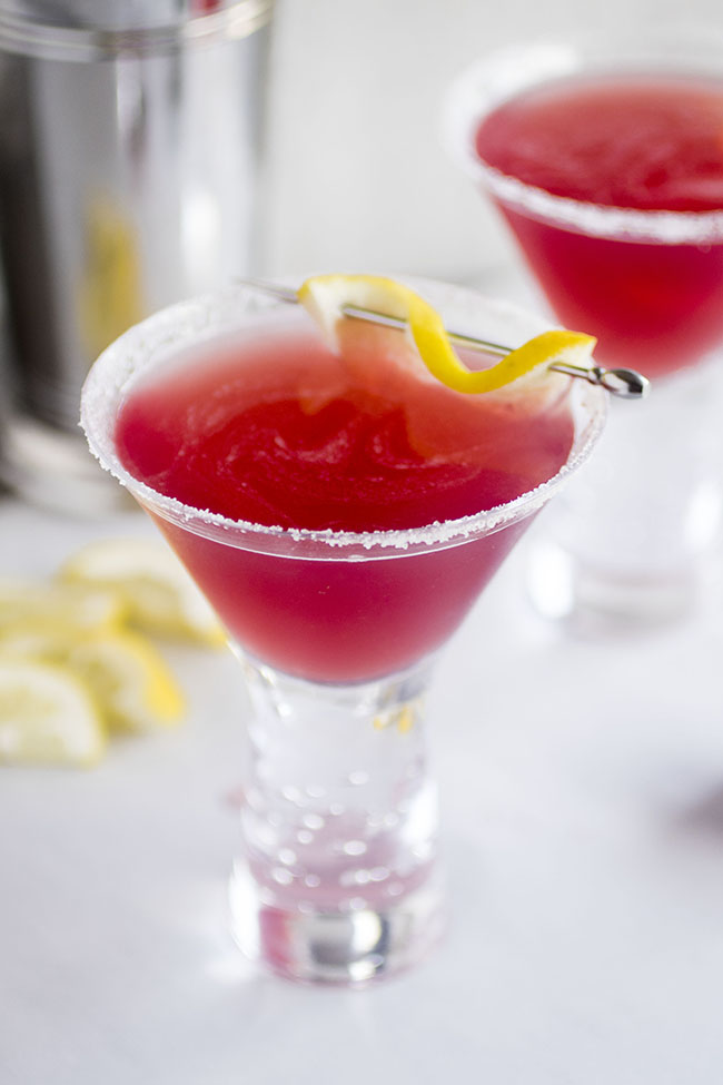 These fun and easy cocktails are sure to be a hit! A simple lemon drop recipe with a bit of cranberry raspberry juice.