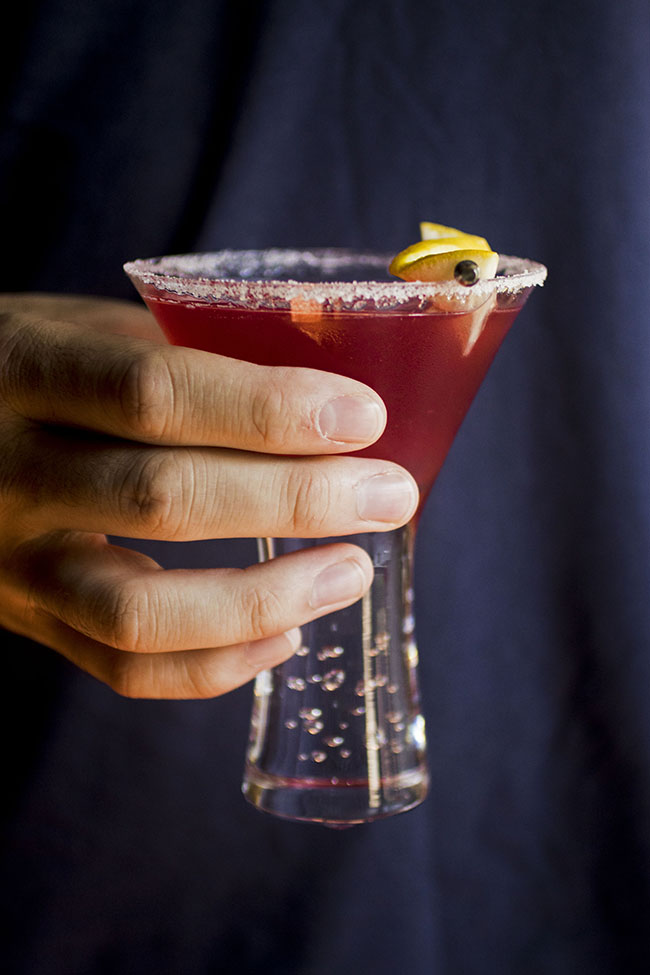 Easy lemon drop cocktail recipe with cranberry raspberry juice!
