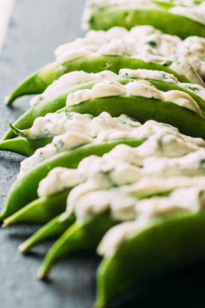 Herb and Cheese Stuffed Snap Peas