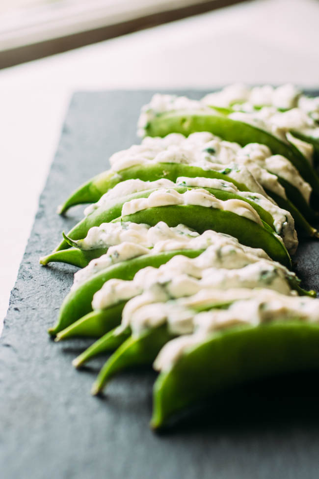 Herb and Cheese Stuffed Snow Peas Appetizer Recipe