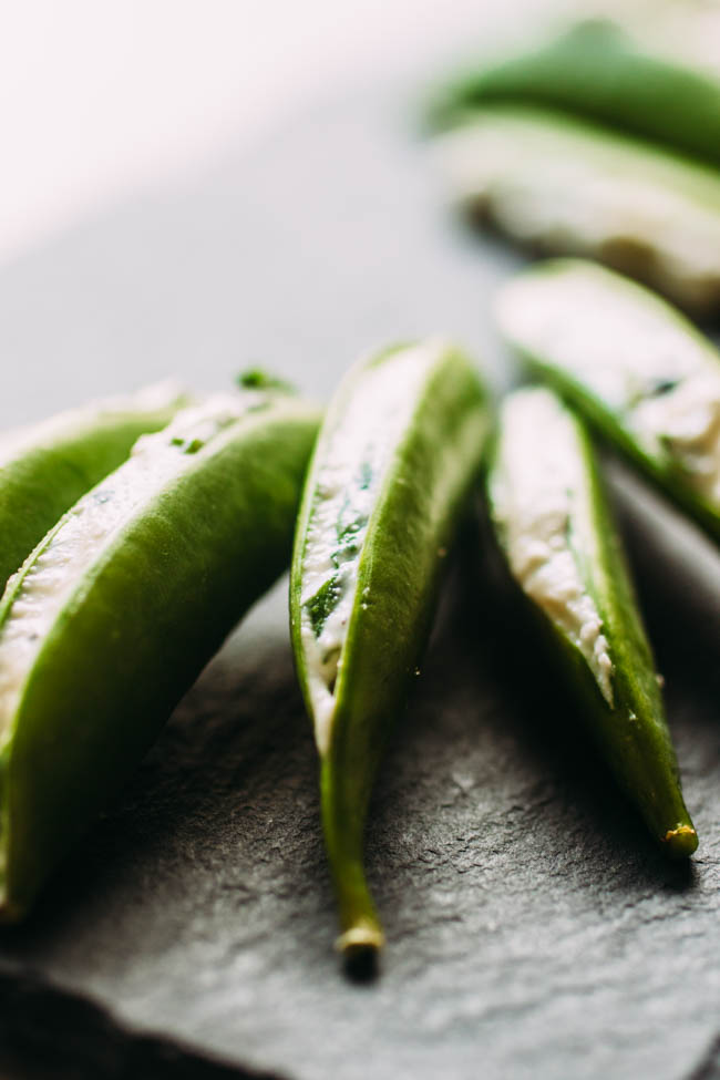 Herb and Cheese Stuffed Pea Pods