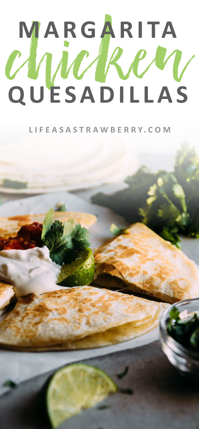 Margarita Chicken Quesadillas - Switch out the usual quesadilla fillings for some lime and tequila marinated chicken and plenty of cheese! Perfect for busy weeknights.