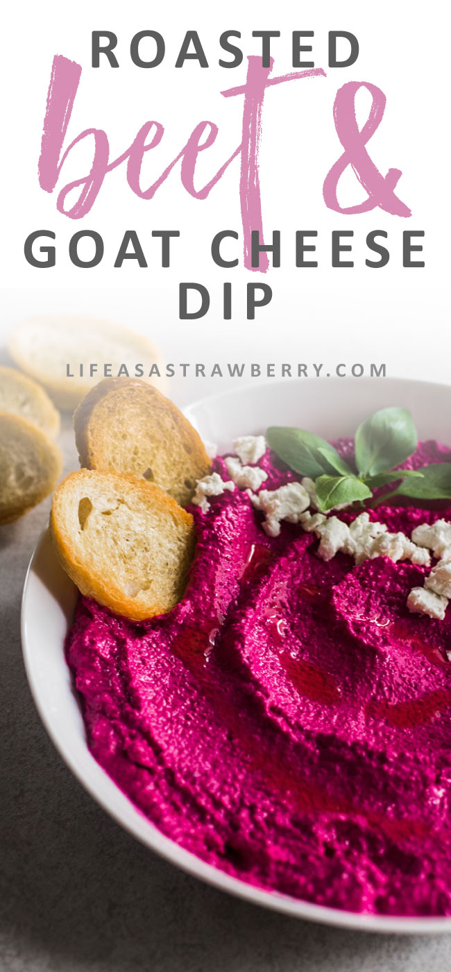 Roasted Beet and Goat Cheese Dip - Balsamic roasted beets and tangy goat cheese make an easy beet spread that's perfect for summer entertaining! Serve with crostini for an easy appetizer recipe. Vegetarian.