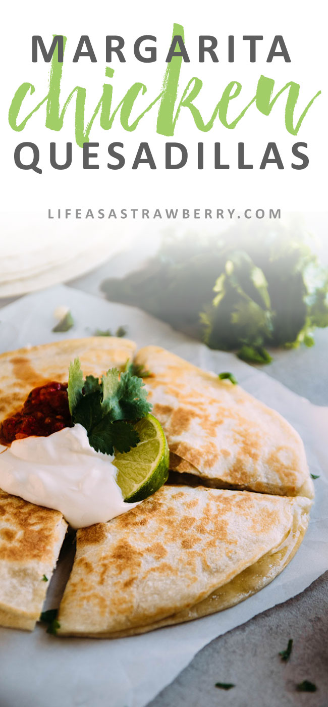 Margarita Chicken Quesadillas - This lime and tequila chicken quesadilla recipe is perfect for busy weeknights! Mix up your quesadilla fillings for a fun dinner. Ready in under 30 minutes.