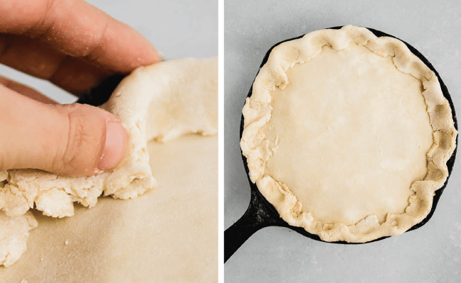 woman's hand crimping pot pie crust on a cast iron skillet