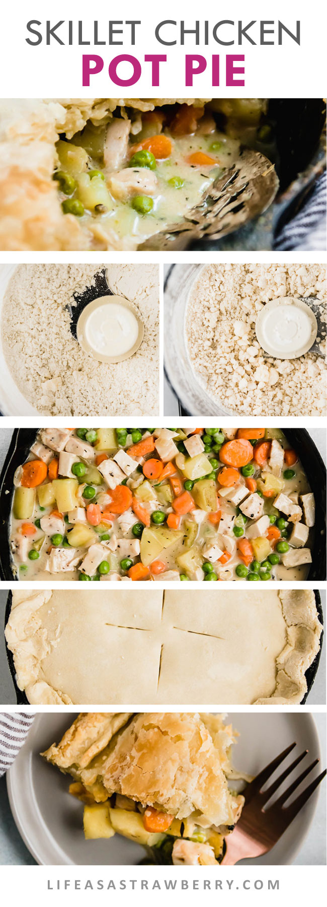 series of photos showing how to make a chicken pot pie step by step
