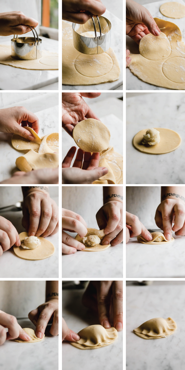 graphic with multiple images showing how to form pierogi step by step