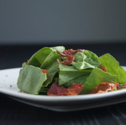 Spinach Prosciutto Salad with Basil Vinaigrette