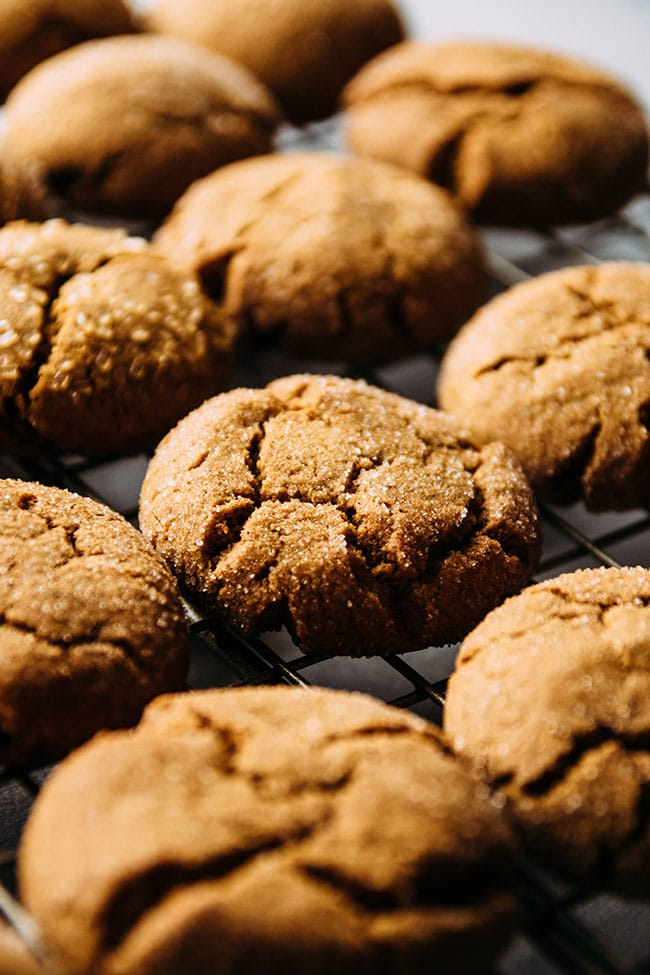 Close up side photograph of gingersnap cookies grouped close together on a cooling rack.