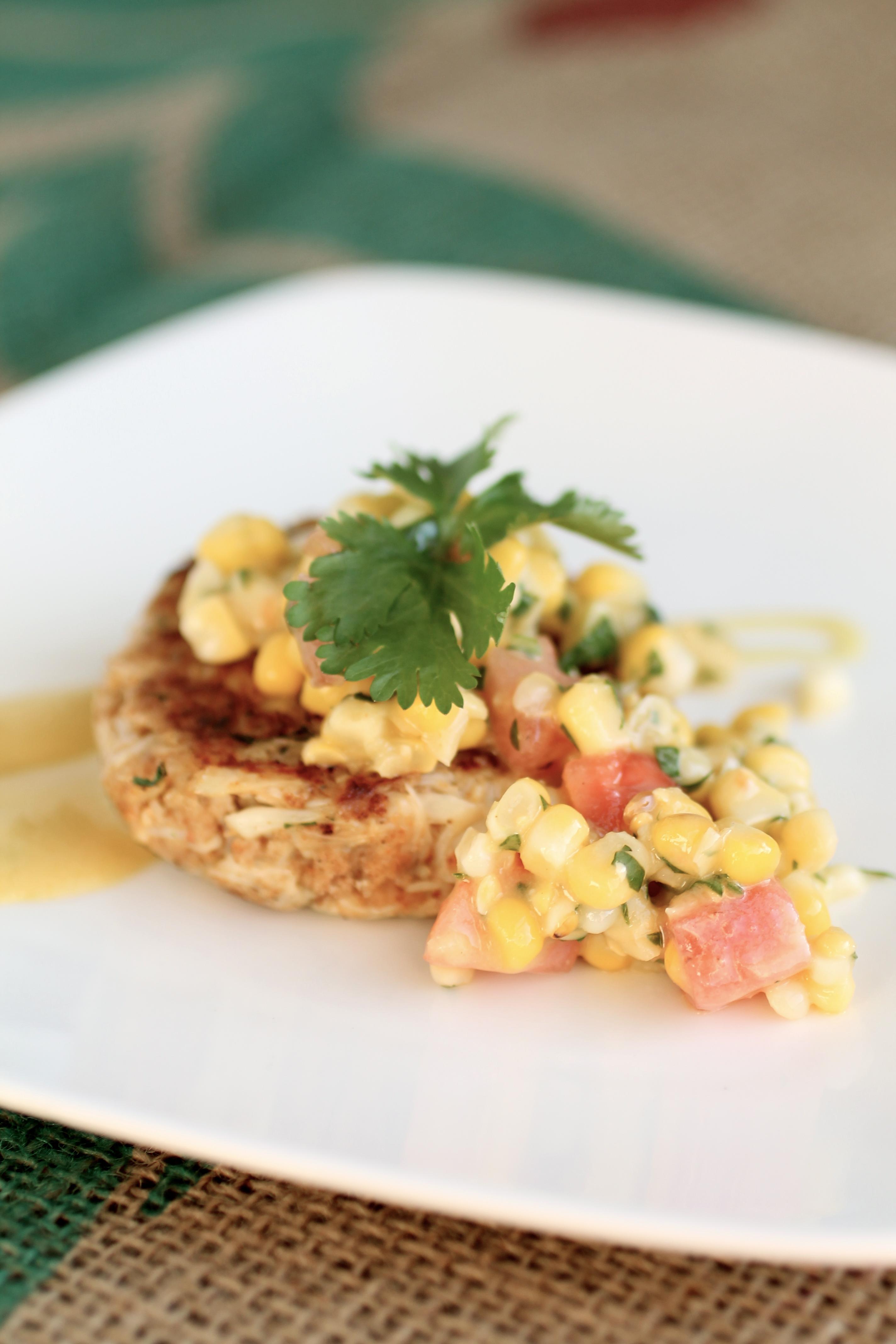 Cilantro Crabcakes with Dijon Corn Salsa