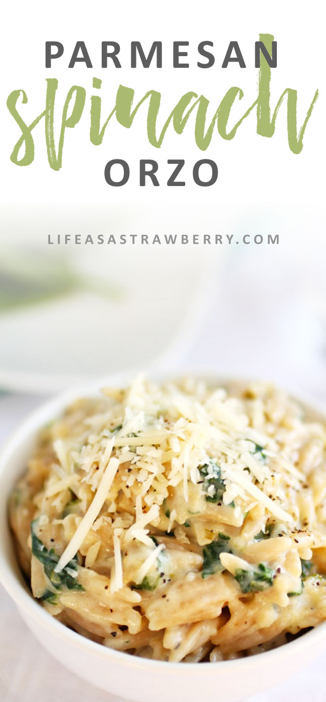 Parmesan Spinach Orzo | This quick and easy spinach orzo comes together in no time and pairs well with chicken, fish, or as a standalone dish! An easy orzo side dish recipe.