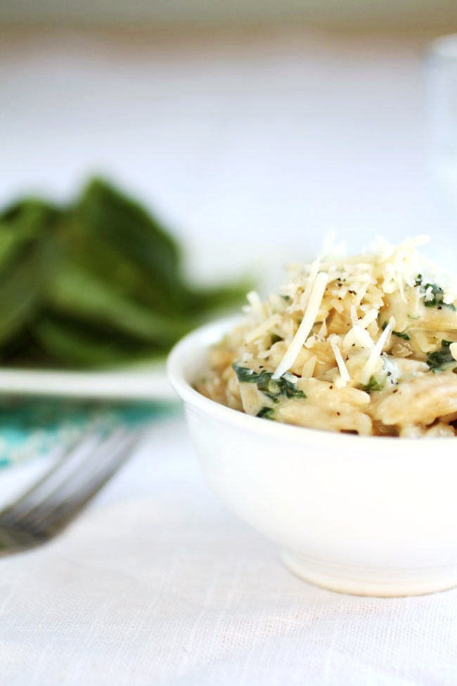 Orzo recipe with spinach and garlic parmesan cream sauce.