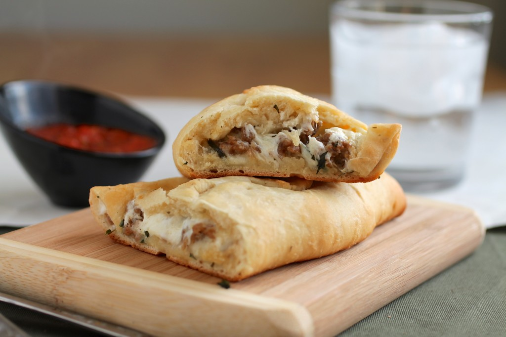 Goat Cheese, Basil and Italian Sausage Calzones