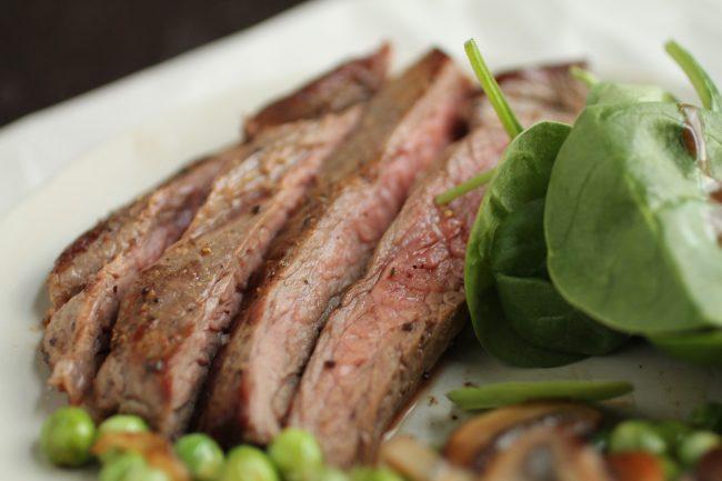 Pan-Seared Flank Steak with Sautéed Vegetables & A Quick Balsamic Vinaigrette