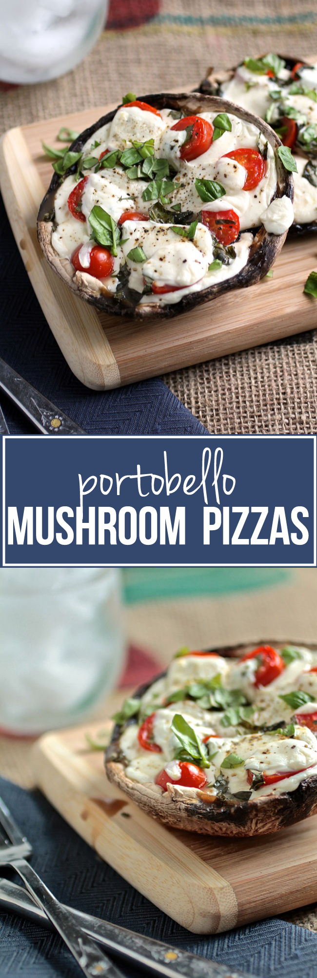 Portobello Mushroom Pizzas | This healthy pizza recipe is quick, easy, and lets you enjoy your favorite pizza toppings without the guilt! Vegetarian, ready in 30 minutes.