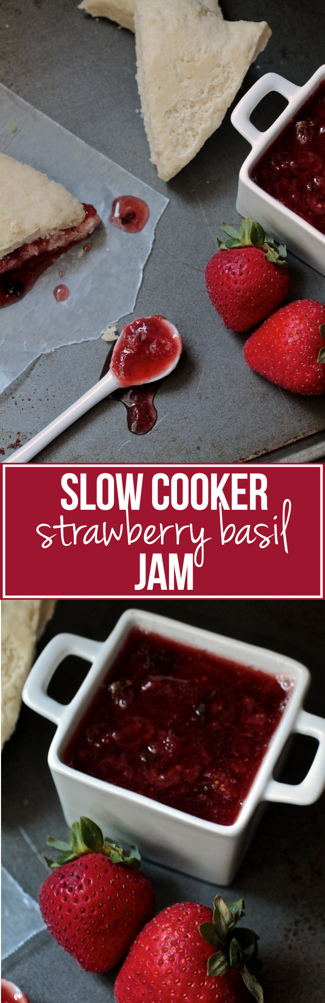 Slow Cooker Strawberry Basil Jam | This easy homemade jam is made in a slow cooker with fresh strawberries and fresh basil for a bit of earthiness. Use it on anything from bagels to fish and chicken to dessert!