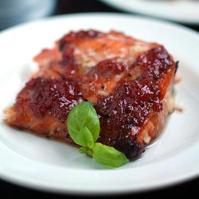 Strawberry Basil Glazed Salmon
