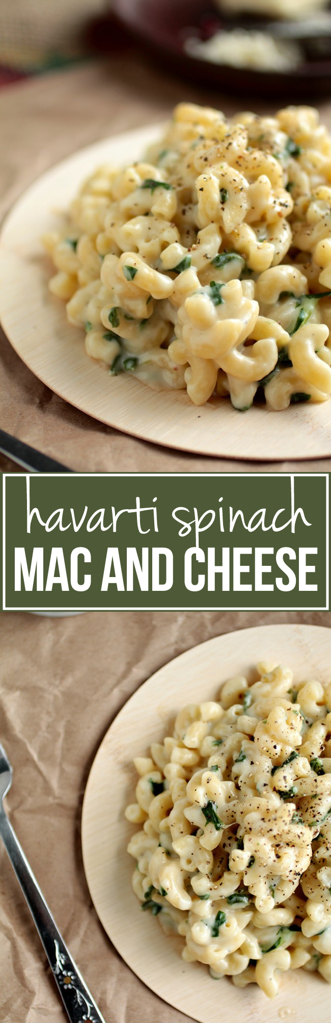 Havarti Spinach Mac and Cheese | Mix up your macaroni and cheese routine with this simple havarti mac and cheese recipe - the perfect easy weeknight meal that even the pickiest eaters will love! Vegetarian.