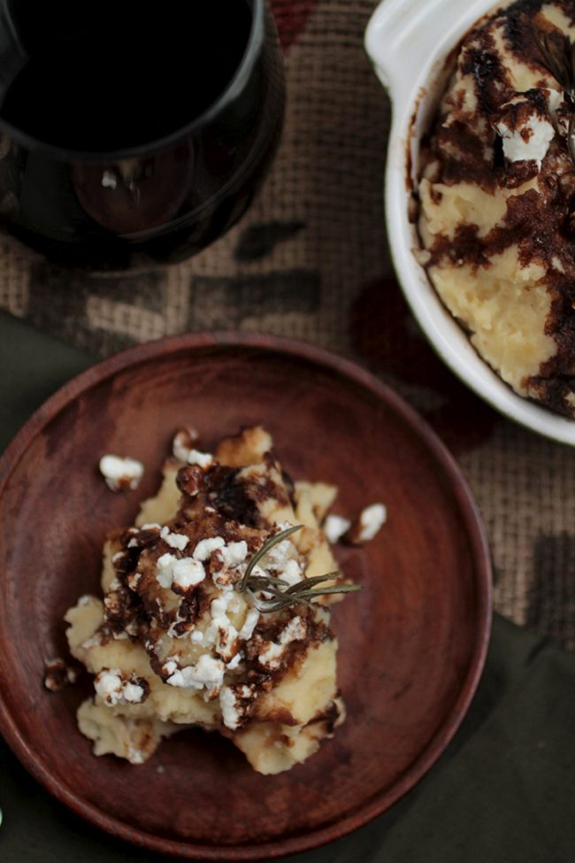 Rosemary Browned Butter Mashed Potatoes with Goat Cheese and Balsamic Glaze   Step up your side dish recipe game with these decadent, incredible mashed potatoes. Vegetarian.