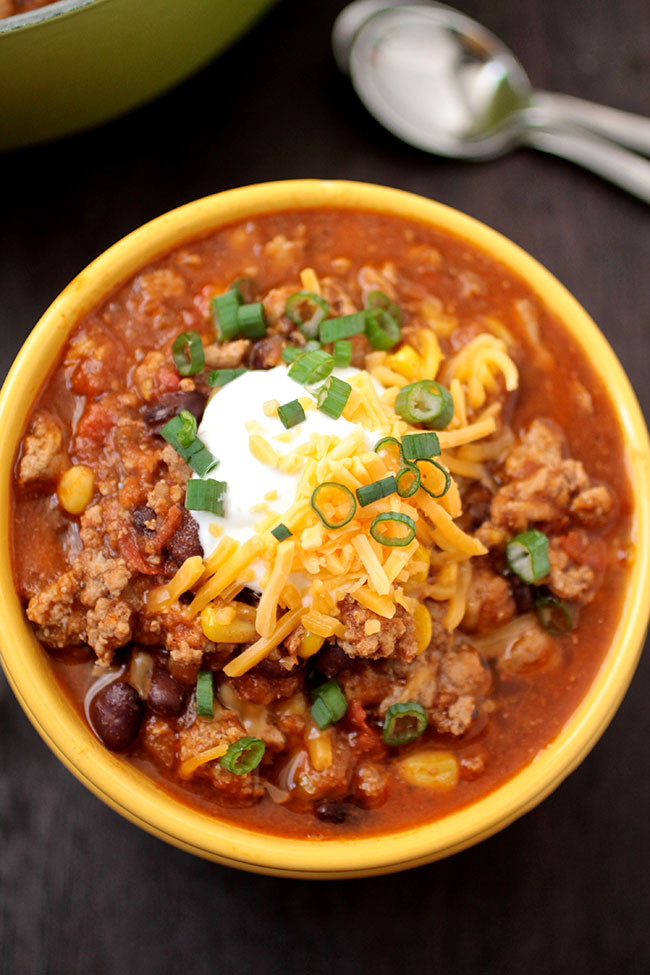 Turkey, Corn, and Black Bean Chili   Try this quick and easy turkey chili recipe for a lighter version of your favorite black bean chili. Perfect for chilly weeknights!