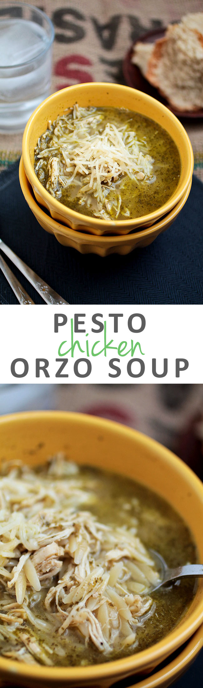 Pesto Chicken Orzo Soup | This easy chicken soup recipe with pesto and orzo is perfect for busy weeknights. Ready in 30 minutes.