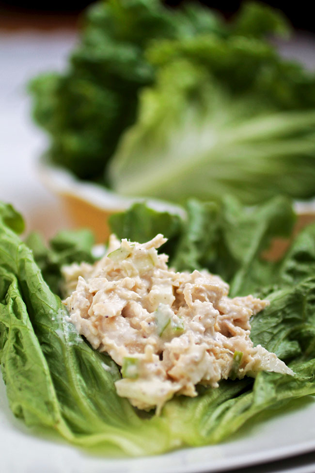 Chicken Apple Salad Lettuce Wraps | This healthy chicken salad recipe uses Greek Yogurt and simple lettuce wraps to lighten up a classic chicken salad. The perfect healthy chicken recipe for busy weeknights and lunches on-the-go.