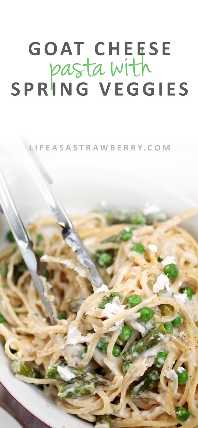 Goat Cheese Pasta with Spring Vegetables   This easy spaghetti recipe has a simple goat cheese sauce and plenty of healthy spring vegetables - the perfect pasta recipe for busy weeknights. Vegetarian.