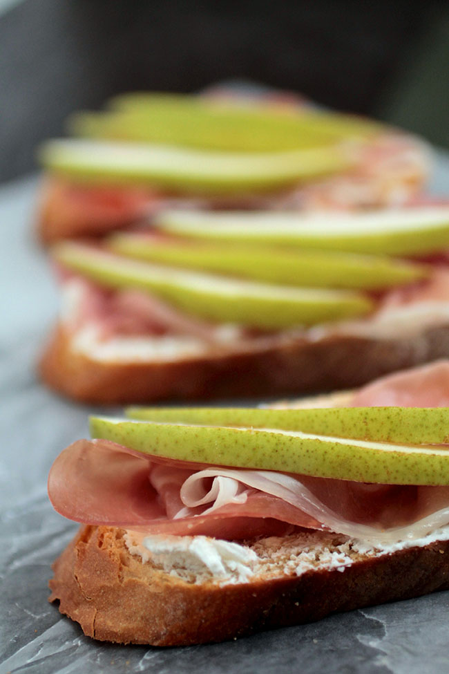 ... pear needs? Goat cheese. And bread. And some prosciutto. And some more