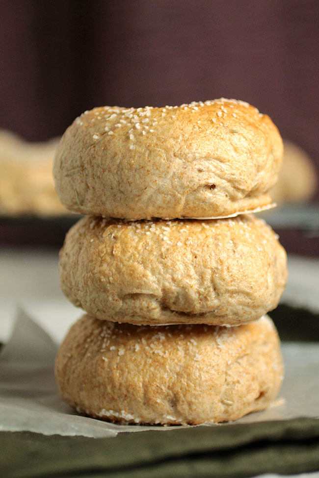 Salted Rosemary Wheat Bagels