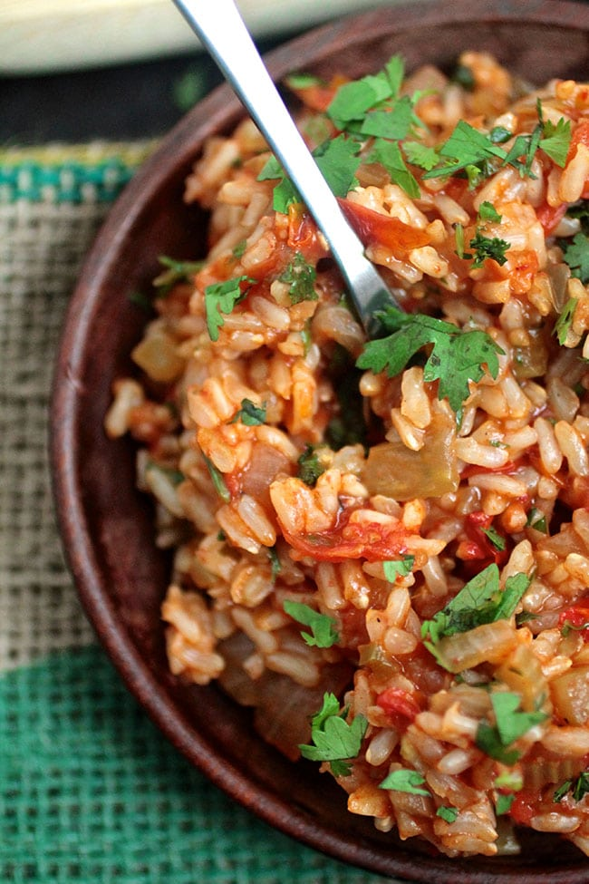 This easy vegan recipe for jambalaya is full of fresh produce and gets a spicy kick from fresh jalapeños!