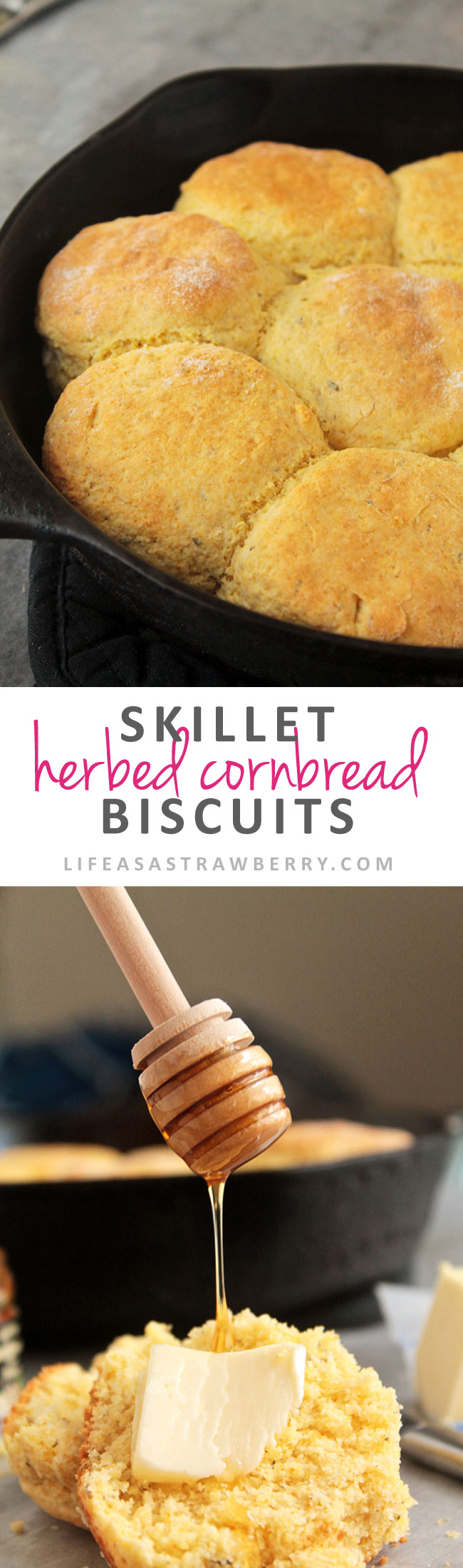 Skillet Herbed Cornbread Biscuits | Mix up your side dish routine at breakfast, lunch, or dinner with this unique cornbread recipe! Bake cornbread biscuits in a cast iron skillet and serve with chili or any other meal! Vegetarian.