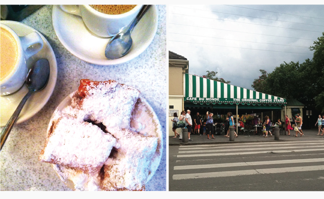 Beignets and a street shot of Cafe du Monde