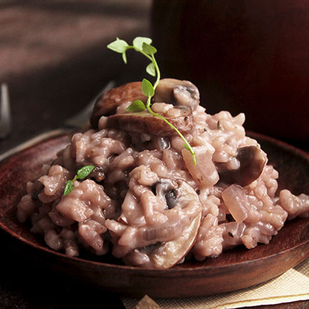 Red Wine, Thyme, and Mushroom Risotto