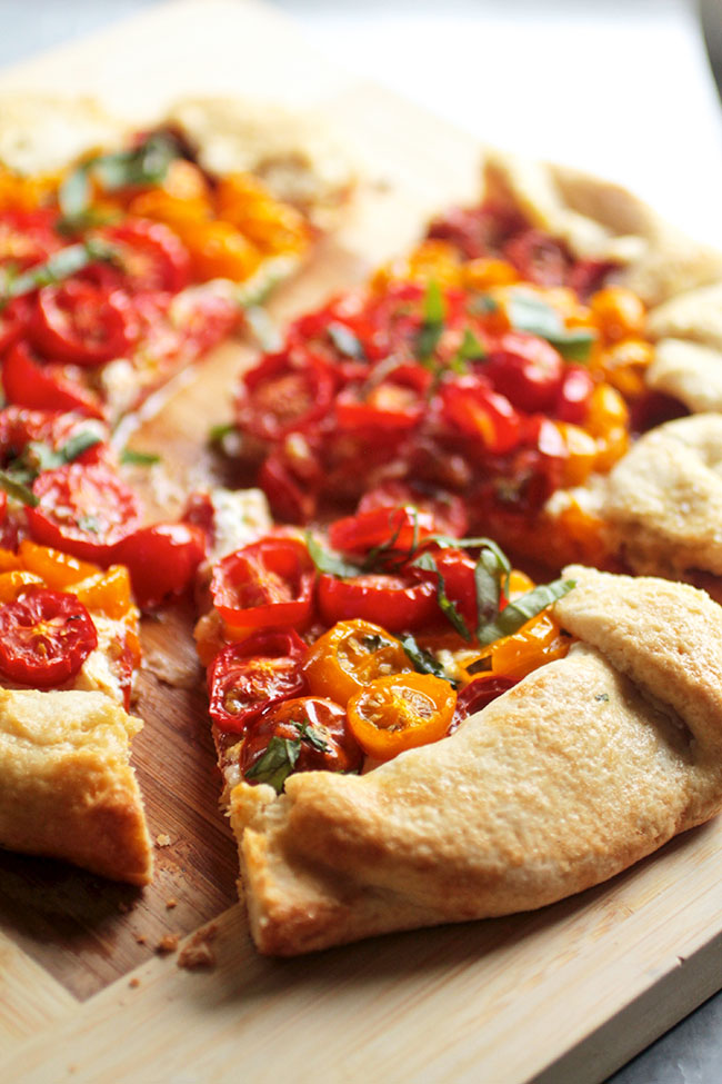 Vegetarian galette with goat cheese and tomatoes.