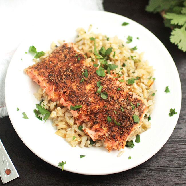Spice-Rubbed Salmon with Cilantro Lime Rice