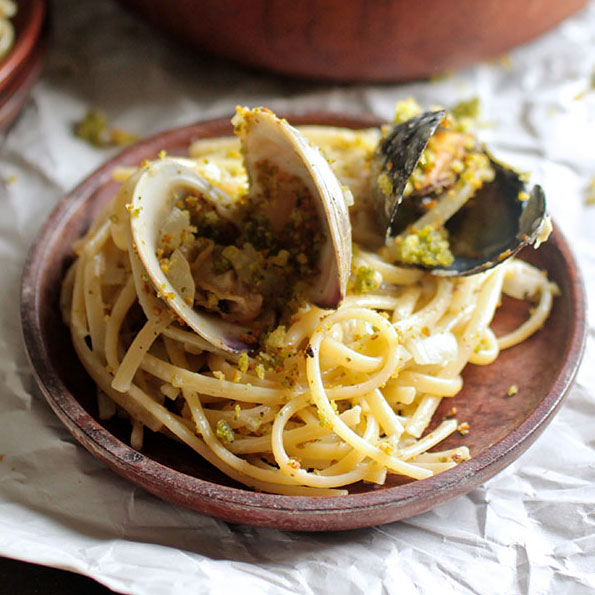 Shellfish Spaghetti with Toasted Pesto Bread Crumbs