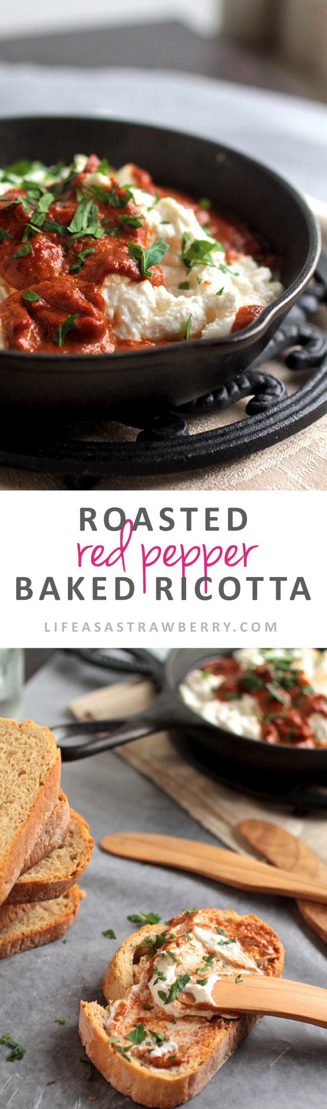 Roasted Red Pepper Baked Ricotta | This amazing baked cheese dip is sure to be a hit! Velvety ricotta cheese with a flavor-packed roasted red pepper sauce. Vegetarian.