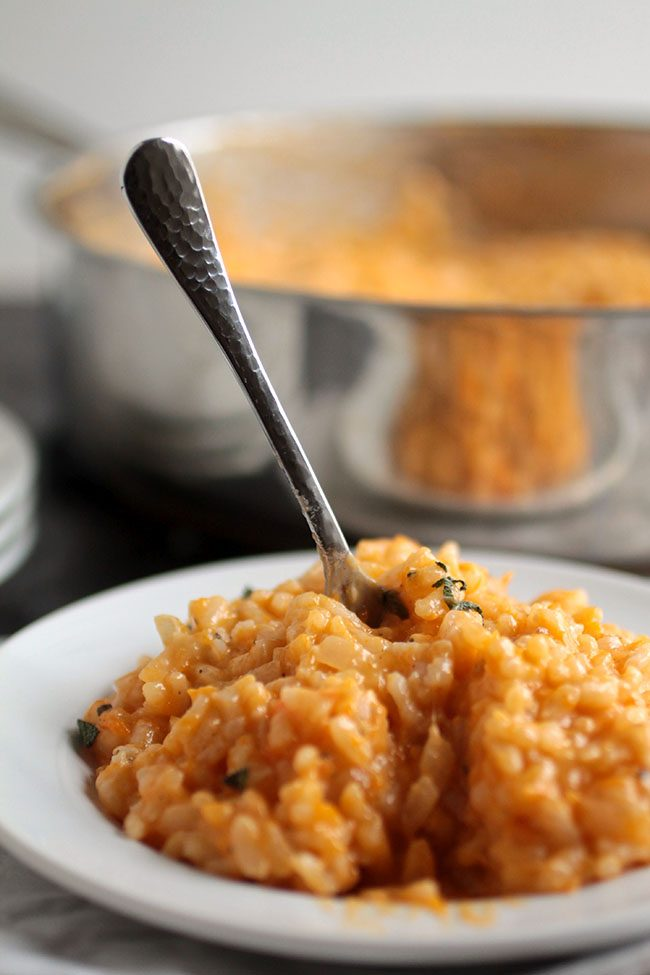 Roasted Butternut Squash Risotto | This warm and hearty parmesan risotto recipe has a cheesy white wine base and gets an added bit of creaminess and flavor from a roasted butternut squash puree.