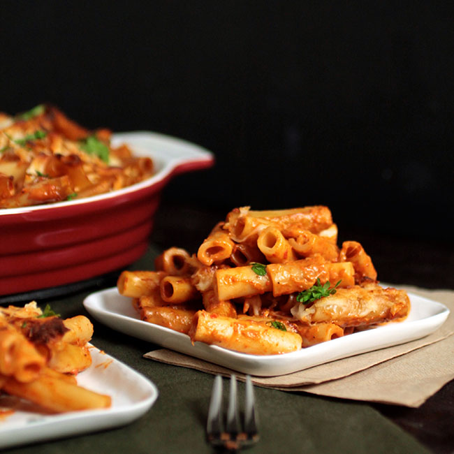 Roasted Red Pepper Baked Ziti