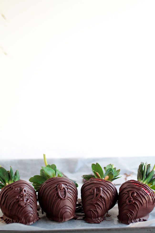 Minty Chocolate Strawberries with Chocolate Lettering