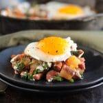 Chorizo & arugula breakfast hash with lime crema