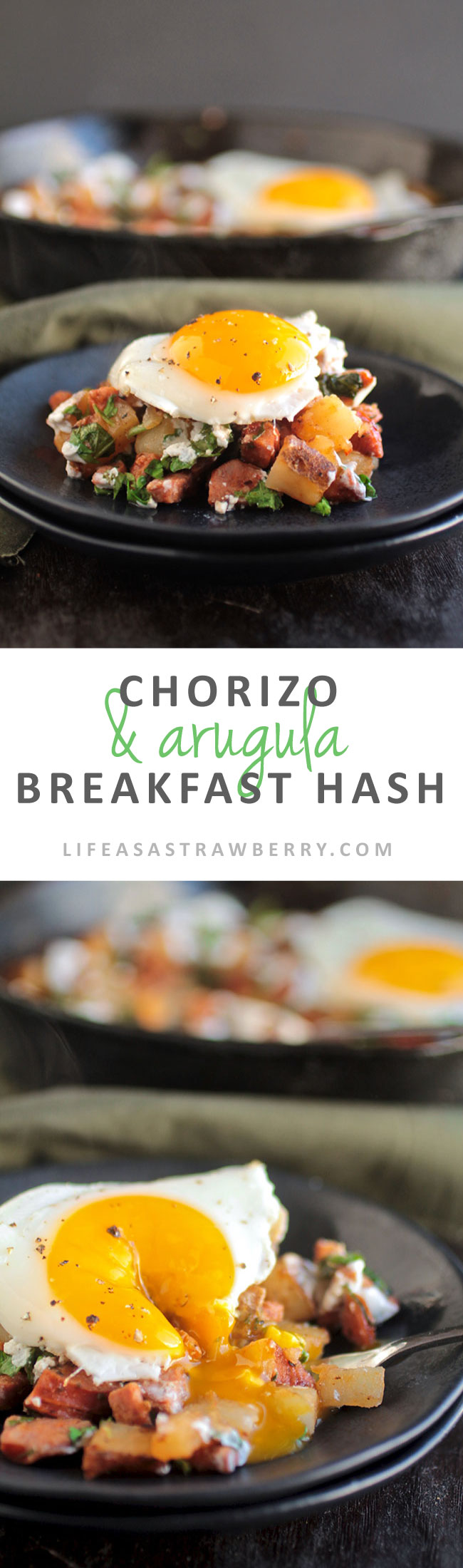 30 Minute Chorizo & Arugula Breakfast Hash with Lime Greek Yogurt Crema | This quick and easy breakfast hash recipe has spicy chorizo sausage, fresh arugula, and a delicious Greek yogurt sauce to tie it all together. Serve with fried eggs for a fun brunch recipe!