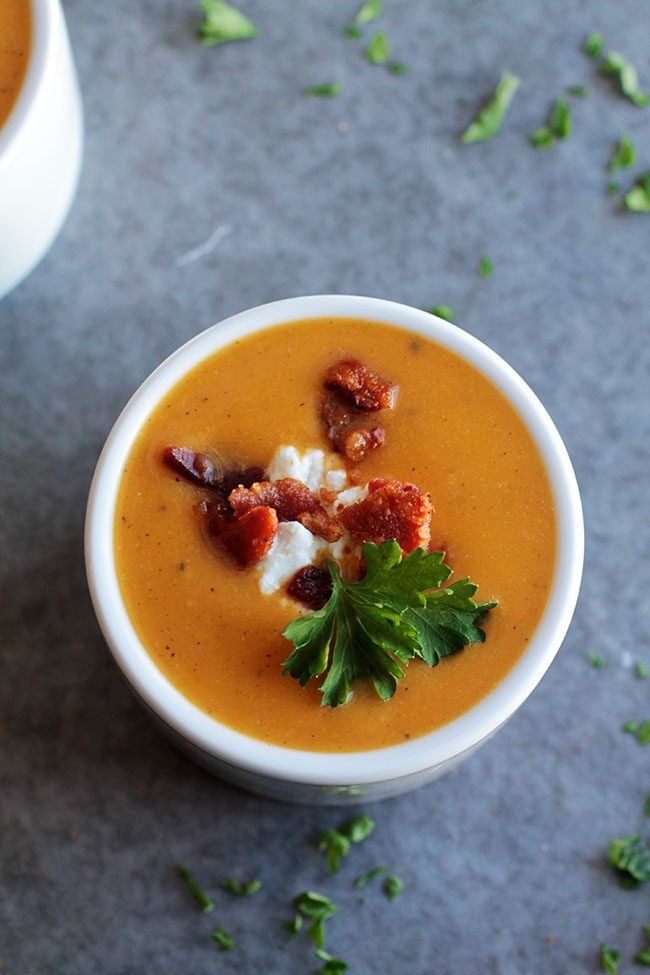 An easy butternut soup with crispy bacon and tangy goat cheese - perfect for chilly weeknights!