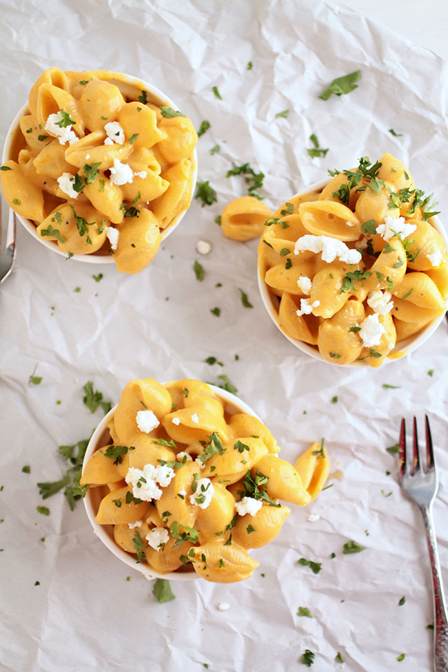 Butternut Squash Mac and Cheese with a Roasted Butternut Squash Pasta Sauce with Goat Cheese