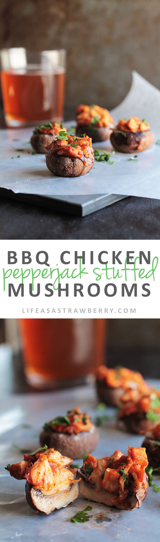BBQ Chicken Pepper Jack Stuffed Mushrooms | This fun and easy appetizer recipe comes together in no time. Easy barbecue pulled chicken, spicy pepperjack cheese, fresh cilantro and earthy portobello mushroom caps come together for a fun twist on classic stuffed mushrooms. Perfect for entertaining!