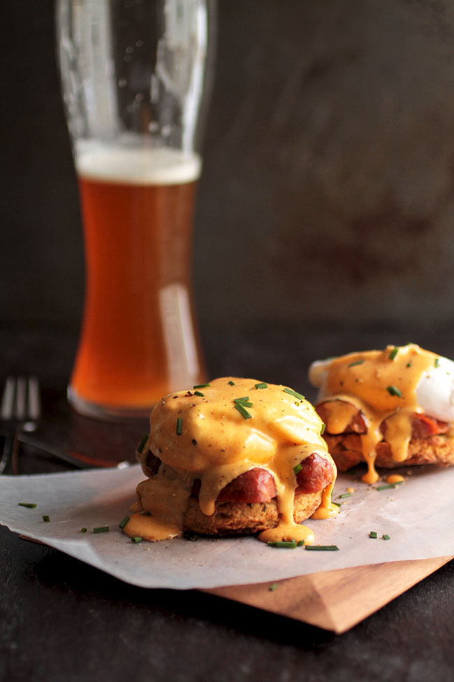 Need some brunch recipe inspiration? Try this Cajun Eggs Benedict with cheddar beer biscuits, spicy andouille, and an easy homemade hollandaise sauce!