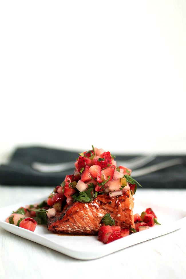Balsamic Glazed Salmon with Strawberry Salsa
