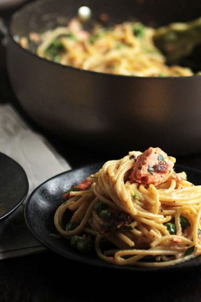 Creamy Salmon Carbonara with Mustard-Bourbon Candied Bacon